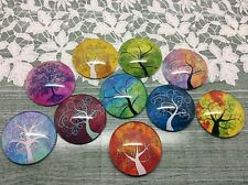 10 x Colourful Tree of Life Dome Cabochons 25mm jewellery making scrapbook