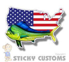 Mahi Fish USA American Flag Sticker Car Cup Laptop Fishing Cooler Window Decal