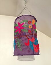New Age Creations Hanging Lantern Lamp Purple Floral Stitching Battery Operated