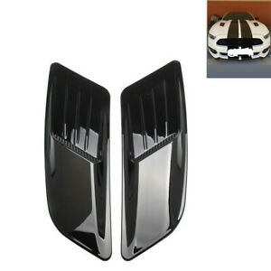 2x Universal Car Decorative Air Flow Intake Scoop Bonnet Vent Cover Hood Black