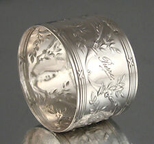 "Antique French Silver Napkin Ring Hallmark, Louis XVI Style, Engraved ""Pierre"""