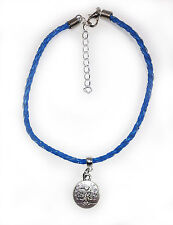 """Gypsy Surf Anklet Blue Plaited Leather With Tree of Life Charm 23cm (9"""")"""