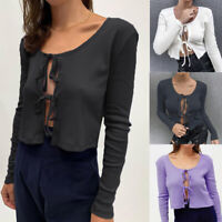 Womens Knotted Tie Front Bolero Shrug Long Sleeve Crop Top Knit Sweater Cardigan