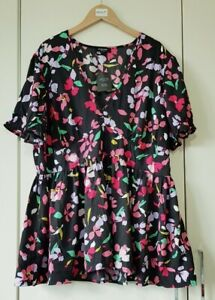 Simply Be Top Blouse Size 18 Black Floral Print, NEW Short Sleeve V Neck Button