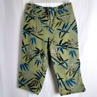 Chicos Womens Capri Jeans Size 1 M 8 Green Blue Floral Tropical Stretch Denim