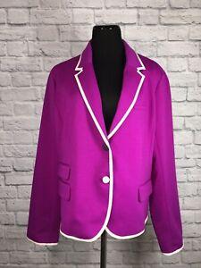 Gap The Academy Blazer Purple Fuschia White Trim Size 18 NWT