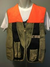 03e835d5bc5a2 Preowned Columbia Hunting Vest Mens M Tan Khaki Cotton Canvas Zip Up Orange  Trim