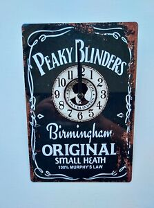 PEAKY BLINDERS WALL CLOCK  GREAT FOR HOME BAR, MAN CAVE  HOME PUB TIN CLOCK