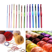 14Pcs Aluminum Handle Knitting Crochet Hook Needles Pin Weave Yarn 2.0-10mm Hot