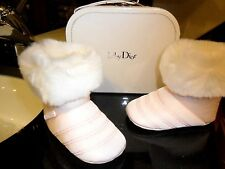 BABY DIOR AUTH baby soft sole Shoes BOOTIES FUR chaussons infant PINK Sz 19