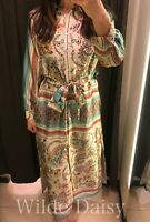 ZARA NEW FLORAL PRINT SHIRT DRESS LONG BELT BUTTONS SIDE VENT VINTAGE SIZE XS-XL
