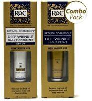 Roc Retinol Correxion Deep Wrinkle Night Cream and Daily Moisturizer Spf 30 1oz