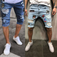 Mens Skinny Runway Straight Zipper Denim Pants Destroyed Ripped Jeans Shorts