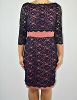 Boden Lace Pencil Dress Blue Navy Spring Summer Wedding Party Size 12 AM