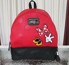 Disney Parks Minnie Mouse Boutique Backpack Medium Red Black NWT