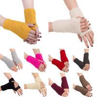 IK- Women's Winter Warm Fingerless Mitten Gloves Braided Knit Wrist Crochet Surp