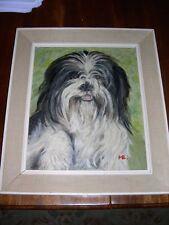 More details for rare tibetan terrier dog oil painting 1960 signed framed terriers