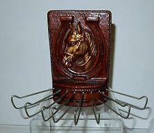 Vintage Syroco Wood Horse & Horseshoe Motif Tie / Belt Wall Rack Syrocowood