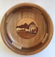 Hand Crafted Wooden Inlay Bowl Woodcraft By Dave Canada Mountain Lake Scene