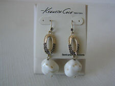 Kenneth Cole Gold Tone Crystal & Stone Drop Earrings