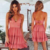 Women Summer Backless Mini Dress Evening Party Cocktail Beach Dresses Sundress