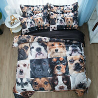 New pattern Cats/Dogs Animal Bedding set Quilt Cover Pillowcases single/doubl