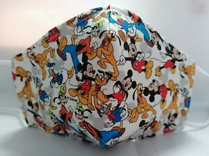 DISNEY MICKEY MOUSE DONALD DUCK & PLUTO DESIGN HAND MADE COTTON FACE MASK, ADULT