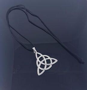 """Black Faux Suede Strand Celtic Pendant  Long Necklace Lagenlook Necklace 34.5"""""""