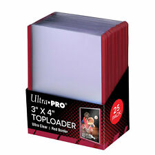 """Ultra-Pro 3"""" x 4"""" Top Loader Card Protectors with Red Border 25 per pack"""