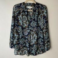 LOFT Women's Popover Blouse Size Large Petite V-Neck Long Sleeves Floral Casual