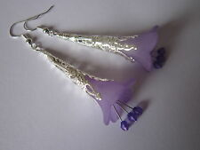 Long Drop / Dangle Earrings - Filigree Trumpet Flowers - Purple - Silver Plated