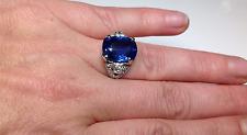 Estate Antique GIA 11.18 CTW Ceylon Sapphire & Diamond Engagement Platinum Ring