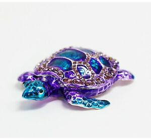 Bejeweled Enameled Trinket Box/Figurine With Rhinestones- Galaxy Sea Turtle