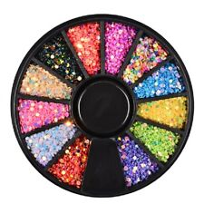 12 Grid Nail Glitter Pailletten Set DIY Mixed Spiegel Sugar Peacock Round Flake