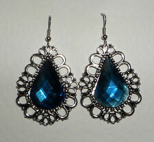 DRAMATIC LARGE BLUE FACETED ACRYLIC CRYSTAL SILVER PL PRINCESS EARRINGS