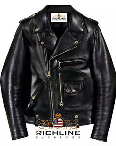 MEN'S GENUINE COWHIDE PREMIUM LEATHER MOTORCYCLE BIKER TOP LEATHER JACKET BLACK