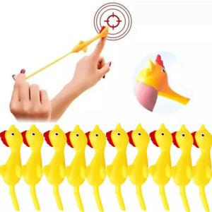 1-20PCS Sticky Flying Rubber Chicken Stretchy Turkey Finger Slingshot Kids Toys