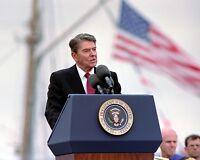 President Ronald Reagan speaks at US Coast Guard Academy 1988 - New 8x10 Photo