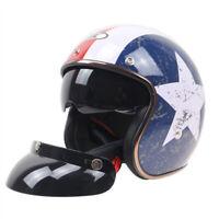 DOT Open Face Motorcycle Helmet w/Sun Visor Cruiser Street Bike Helmet M/L/XL