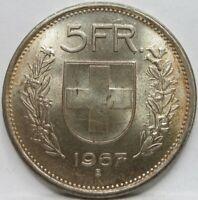 SWITZERLAND Helvetia 5 Francs Franken 1967 Bern UNC #C78