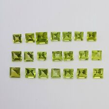 7.34 carats square cut loose natural peridots, 21 stones approx 4x4mm NO RESERVE