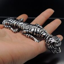 Men Heavy Silver Tiger Stainless Steel Cuff Bangle Bracelet 8.5""