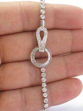"""18Kt Round & Baguette Diamond Bezel Set White Gold Bracelet 2.20Ct 7.5"""""""