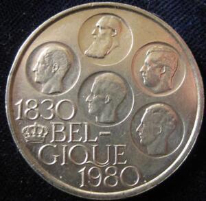 Belgium 500 Francs 1980 French BU silver clad crown #22