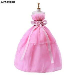 """Pink Bowknot Doll Dress Dolls Clothes For 11.5"""" Doll Outfits Princess Gown Toys"""