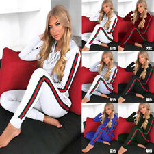 2Pcs Set Womens Tracksuit Loungewear Hoodie Sweatshirt Sport Jogging Top + Pants