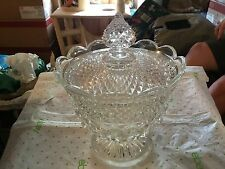 Large Clear glass serving bowl w/lid