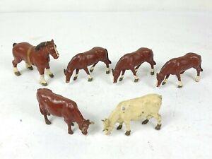 6x Vintage Original Britains and Johillco Farm Figures Horse Bull Metal Animal