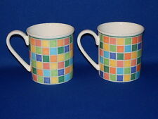 VILLEROY AND BOCH CHINA TWIST ALEA LIMONE PAIR MUGS 3 1/4""