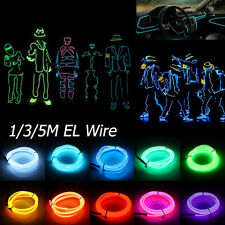 5M EL Wire Flexible Neon Glow Strip Lights Glasses Rope Power Pack Dance Party